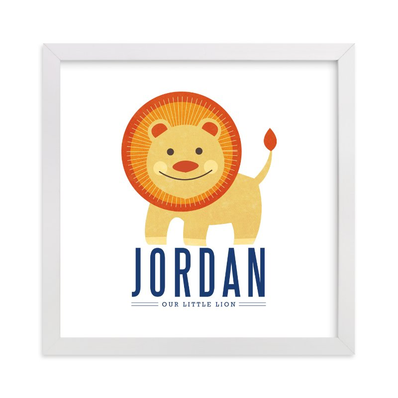 This is a orange nursery wall art by Kristen Smith called little lion with standard.