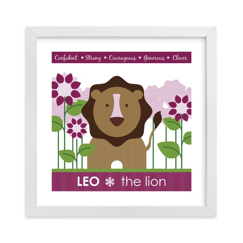 This is a purple nursery wall art by Lisa Seng called Zodiac Baby Leo with standard.