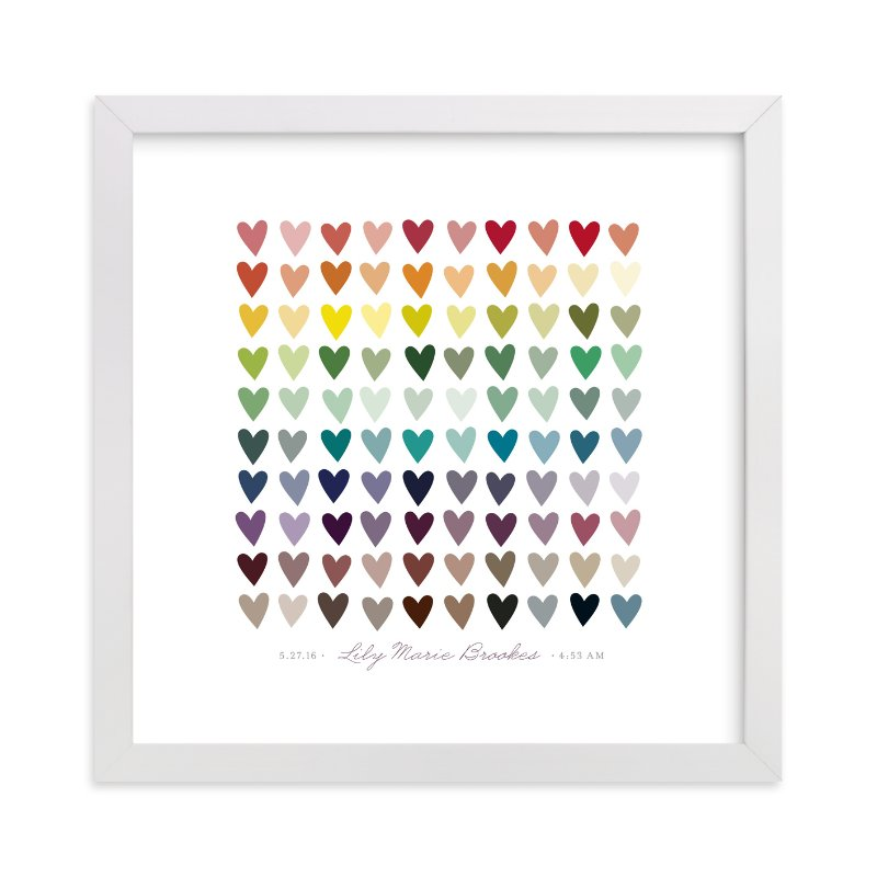 This is a red nursery wall art by InkDot called Paper Hearts with standard.