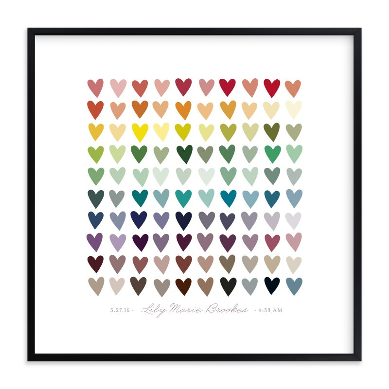 """Paper Hearts"" - Nursery Custom Art Print by InkDot in beautiful frame options and a variety of sizes."