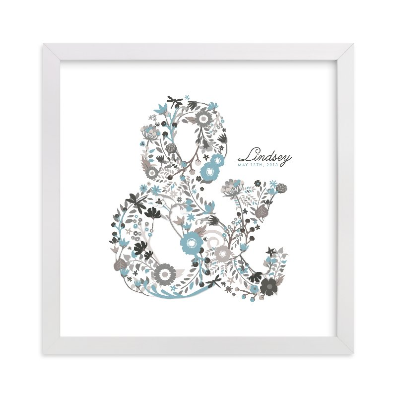 This is a blue nursery wall art by Snow and Ivy called Elegampersand with standard.
