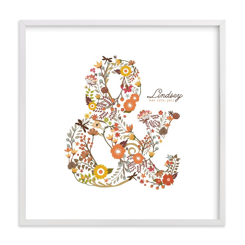 This is a orange nursery wall art by Snow and Ivy called Elegampersand with standard.