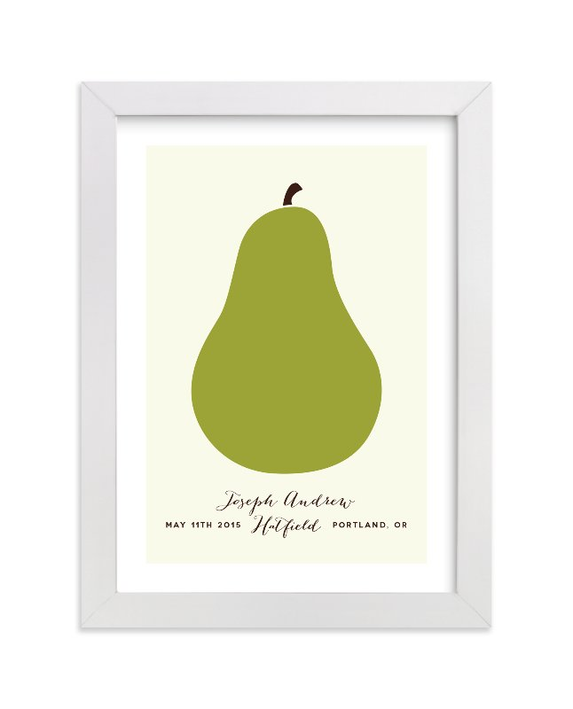 This is a green nursery wall art by Alexandra Stafford called Heirloom Pear with standard.