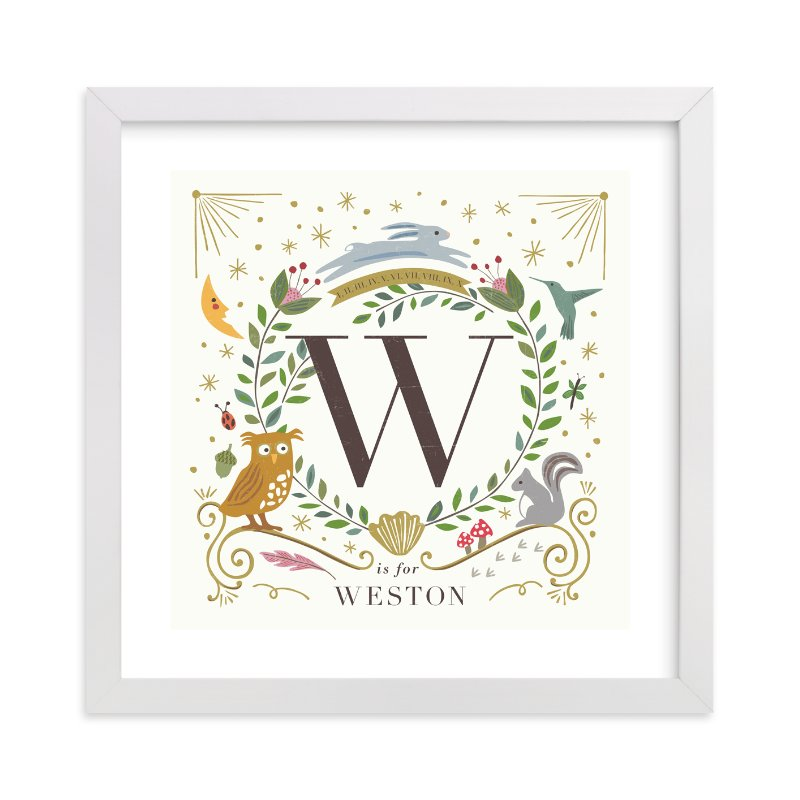 This is a brown nursery wall art by Griffinbell Paper Co. called Woodland Alphabet blocks with standard.