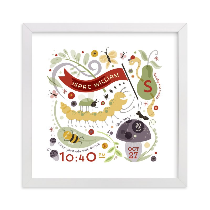 This is a red nursery wall art by Danielle Hartgers called Little Buggers with standard.