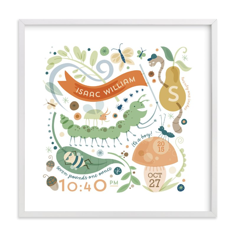 This is a orange nursery wall art by Danielle Hartgers called Little Buggers with standard.
