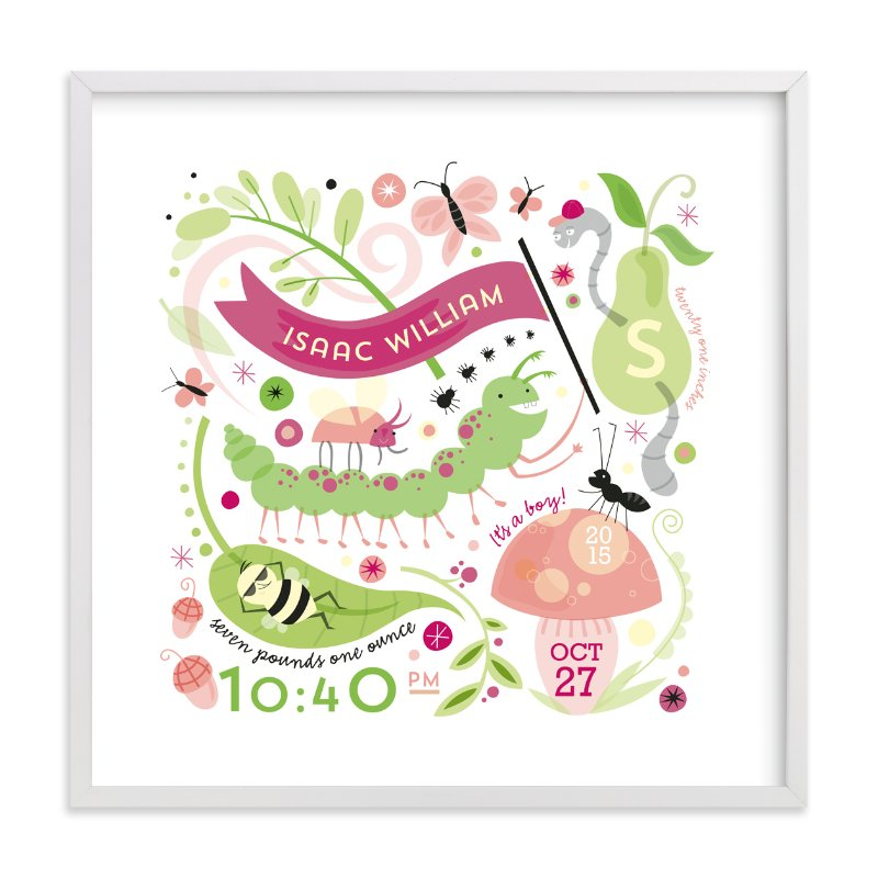 This is a pink nursery wall art by Danielle Hartgers called Little Buggers with standard.