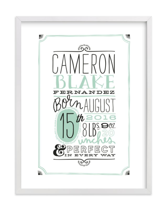 This is a green nursery wall art by Alethea and Ruth called Vintage Info with standard.