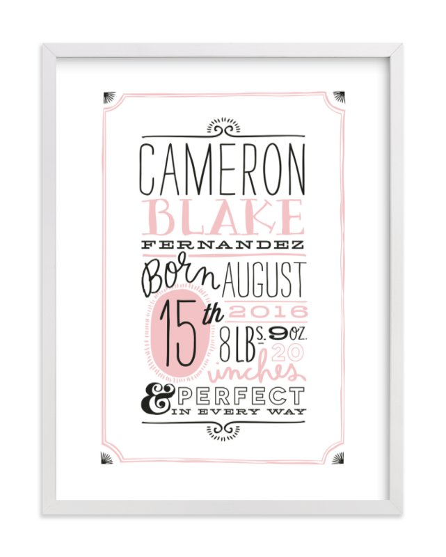 This is a pink nursery wall art by Alethea and Ruth called Vintage Info with standard.