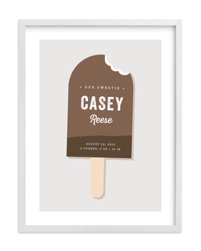 This is a brown nursery wall art by Stacey Meacham called Sweetie with standard.