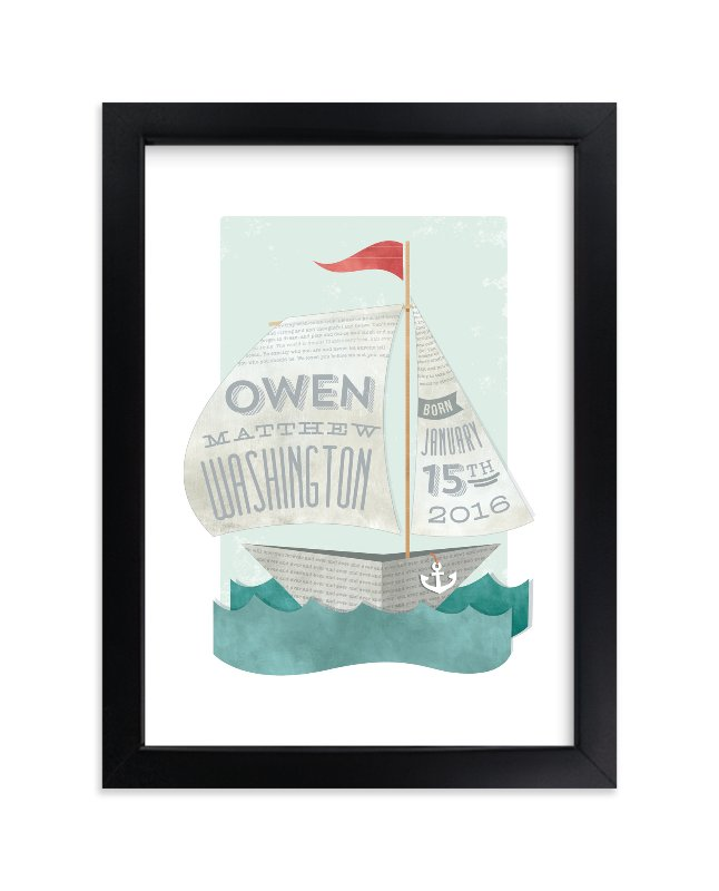 """""""Newspaper Sailboat"""" - Nursery Custom Art Print by Susie Allen in beautiful frame options and a variety of sizes."""