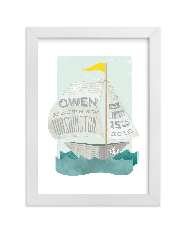 This is a yellow nursery wall art by Susie Allen called Newspaper Sailboat with standard.