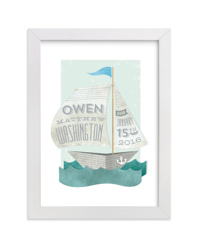 This is a blue nursery wall art by Susie Allen called Newspaper Sailboat with standard.