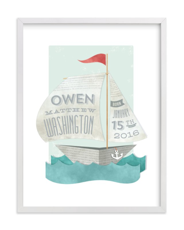 This is a red nursery wall art by Susie Allen called Newspaper Sailboat with standard.