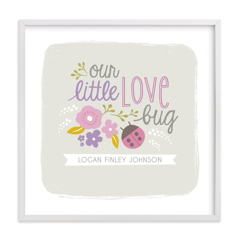 This is a purple nursery wall art by Karidy Walker called Lady Love Bug with standard.