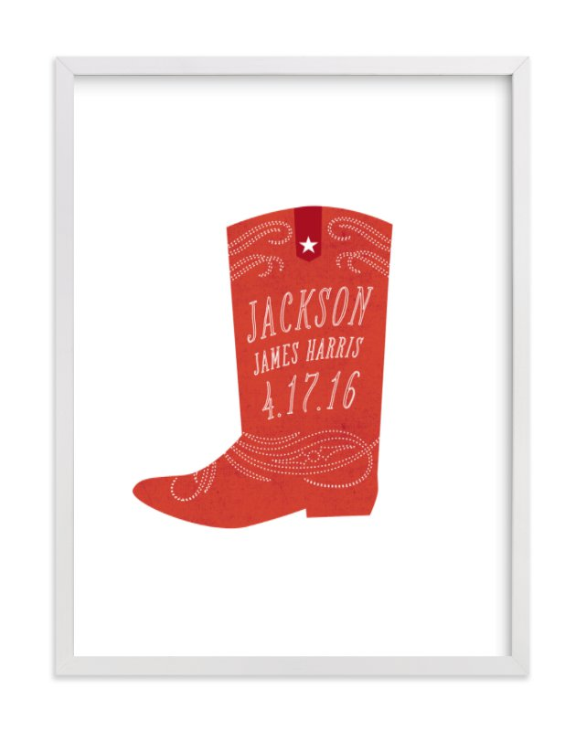 This is a red nursery wall art by Olivia Raufman called Giddyup with standard.