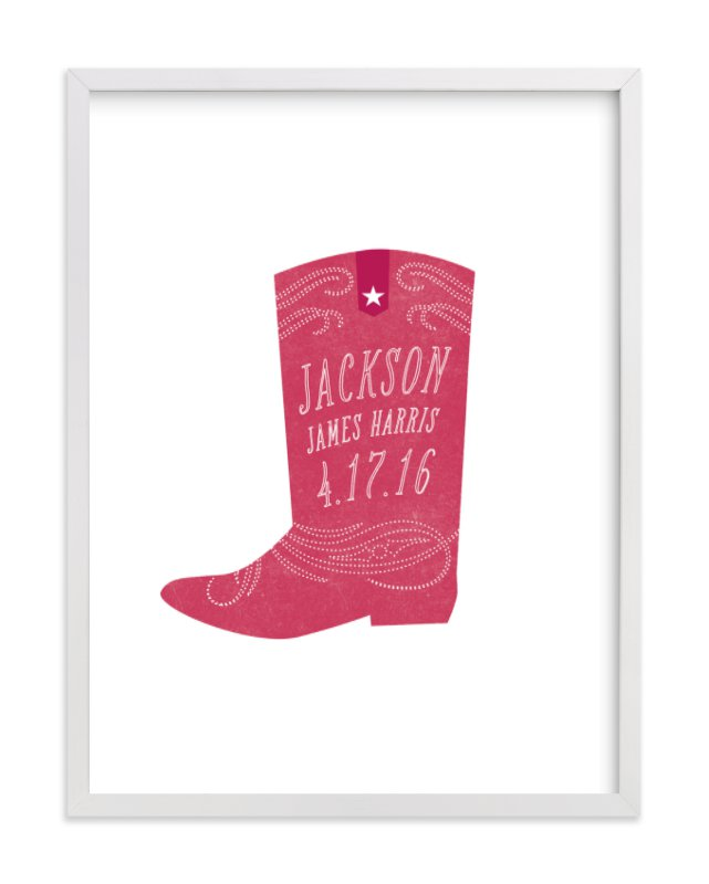 This is a pink nursery wall art by Olivia Raufman called Giddyup with standard.