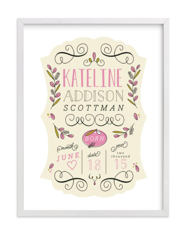 This is a pink nursery wall art by Yolanda Mariak Chendak called Je m'appelle with standard.