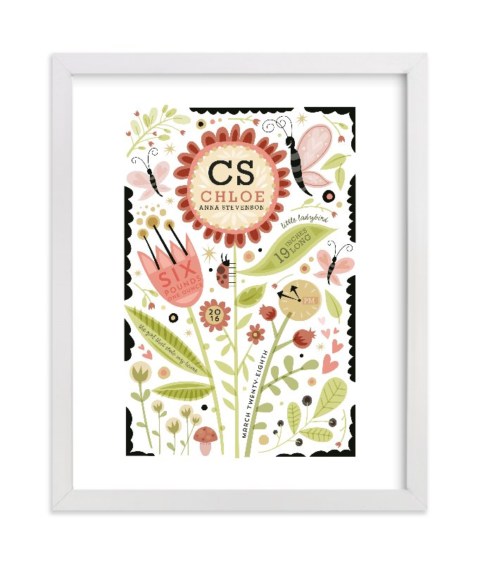 This is a red nursery wall art by Danielle Hartgers called Girly Floral Collage with standard.