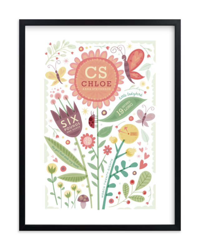 """""""Girly Floral Collage"""" - Nursery Custom Art Print by Danielle Hartgers in beautiful frame options and a variety of sizes."""