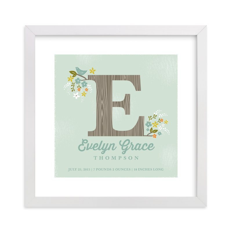 This is a green nursery wall art by Karidy Walker called Woodland Initial with standard.