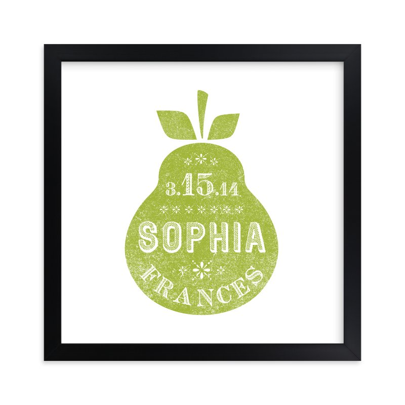 """""""Square Pear"""" - Nursery Custom Art Print by Olivia Raufman in beautiful frame options and a variety of sizes."""