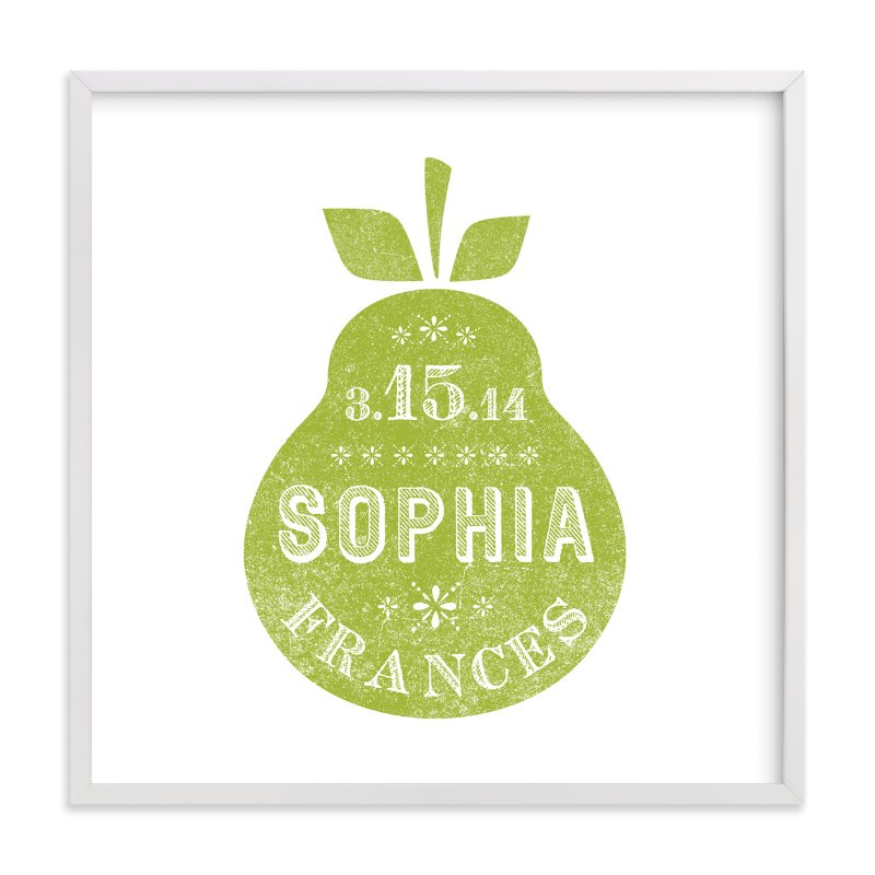 This is a green nursery wall art by Olivia Raufman called Square Pear with standard.