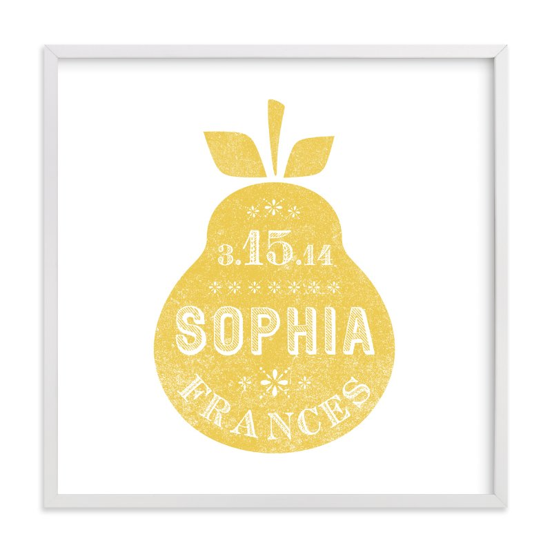 This is a yellow nursery wall art by Olivia Raufman called Square Pear with standard.