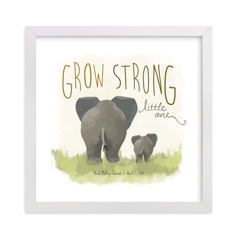This is a grey nursery wall art by Rio Grange called Elephant Bums with standard.