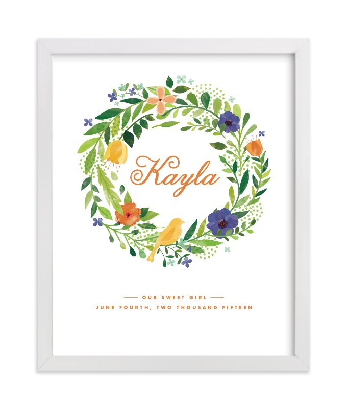 This is a orange nursery wall art by Ariel Rutland called Painted Wreath with standard.