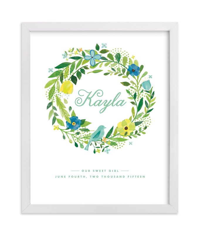 This is a blue nursery wall art by Ariel Rutland called Painted Wreath with standard.