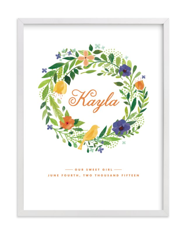 This is a orange nursery wall art by Ariel Rutland called Painted Wreath.