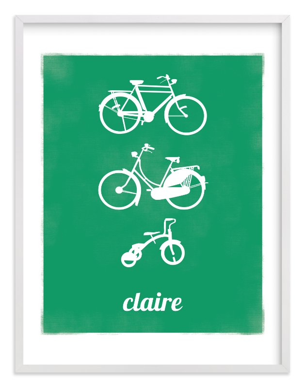 """""""Bike Love"""" - Nursery Custom Art Print by That Girl Studio in beautiful frame options and a variety of sizes."""