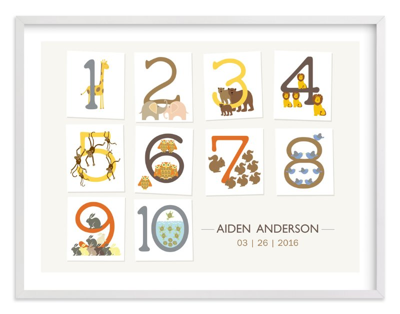 """""""Let's Count"""" - Nursery Custom Art Print by Bella Expressions-Linda Birtel in beautiful frame options and a variety of sizes."""