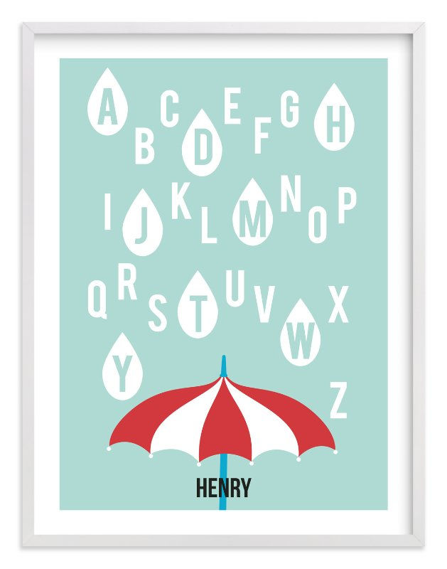 """Alphabet Showers"" - Nursery Custom Art Print by Jenny Batt in beautiful frame options and a variety of sizes."