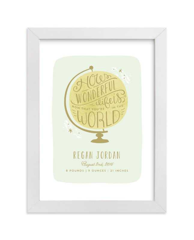 This is a yellow nursery wall art by Laura Hankins called How Wonderful with standard.