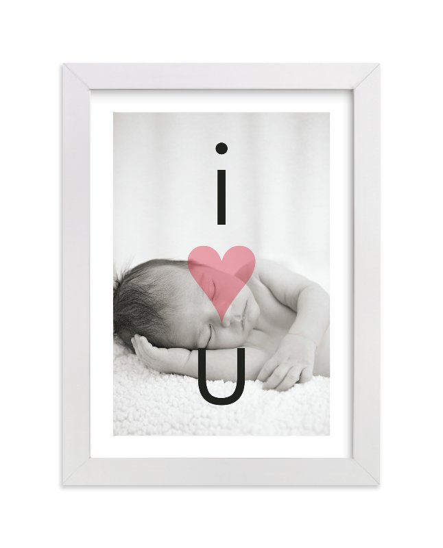 This is a red personalized nursery wall art by Precious Bugarin Design called I Heart U with standard.