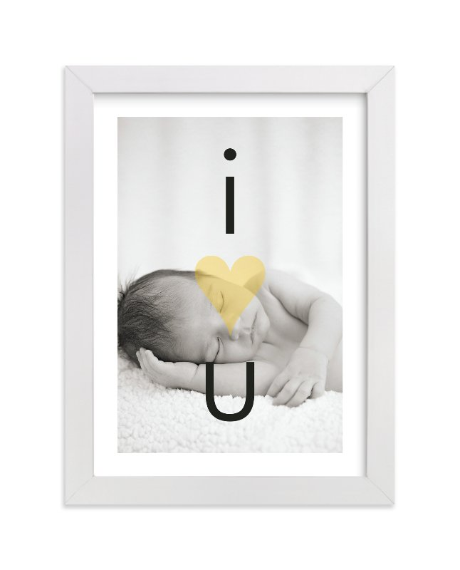 This is a orange personalized nursery wall art by Precious Bugarin Design called I Heart U with standard.