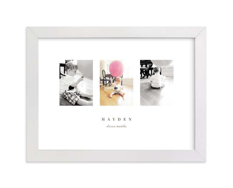 This is a white personalized nursery wall art by kelli hall called Stages with standard.