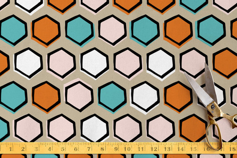 Bright Hexagons Fabric