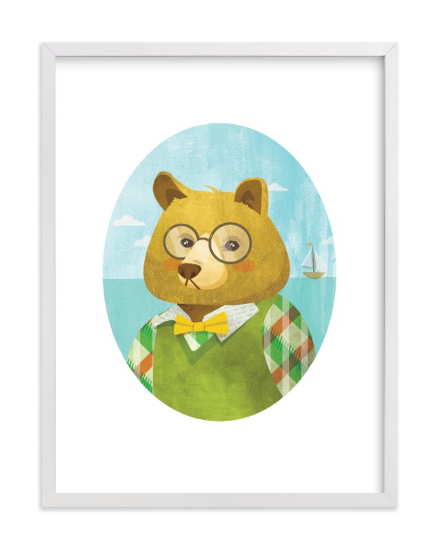 """Thaddeus J. Bear"" - Limited Edition Art Print by Susie Allen in beautiful frame options and a variety of sizes."
