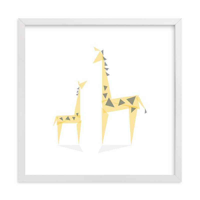 """Geometric Giraffe Mother and Baby"" - Limited Edition Art Print by Caroline Szpak in beautiful frame options and a variety of sizes."