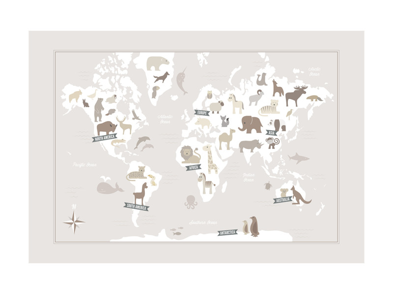 Animal world map wall art prints by jessie steury minted animal world map limited edition print gumiabroncs Choice Image