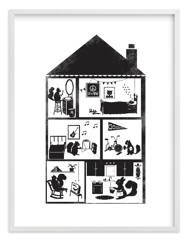 """""""Squirrel House"""" - Limited Edition Art Print by Krista Messer in beautiful frame options and a variety of sizes."""