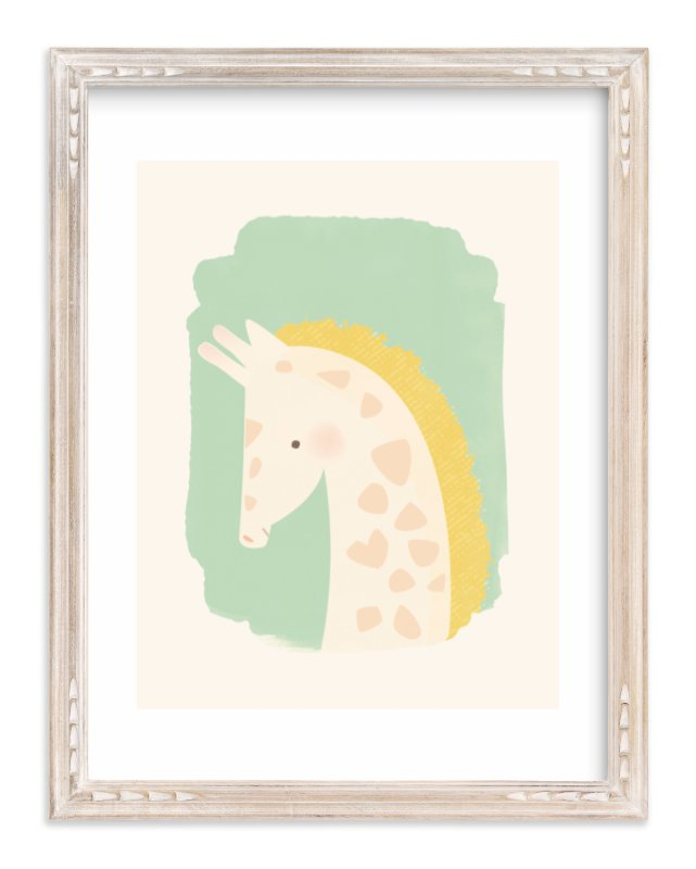 """Valentine Zoo Giraffe"" - Limited Edition Art Print by Lori Wemple in beautiful frame options and a variety of sizes."