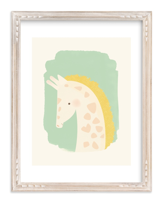 """""""Valentine Zoo Giraffe"""" - Limited Edition Art Print by Lori Wemple in beautiful frame options and a variety of sizes."""