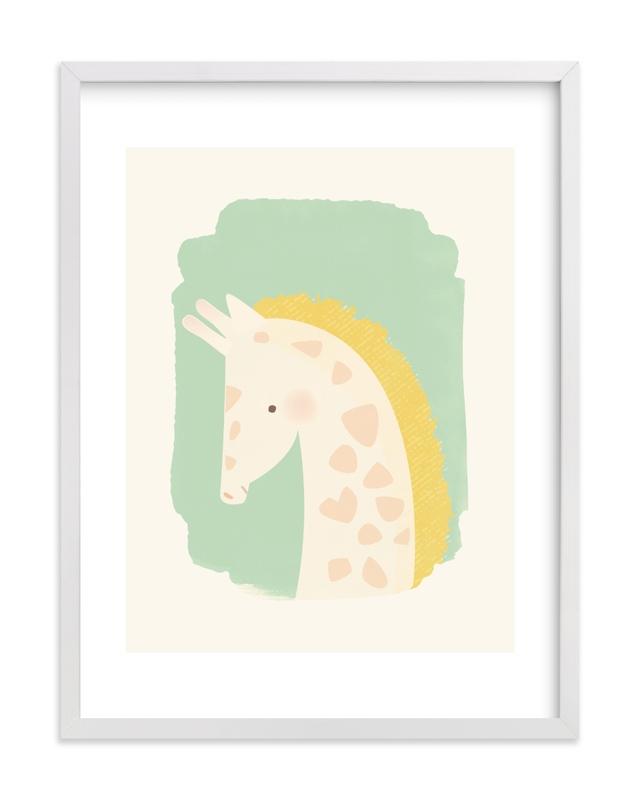 Valentine Zoo Giraffe Nursery Art Print