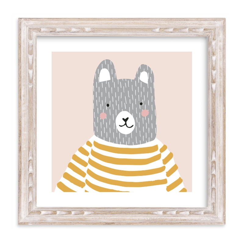 """Stripe Top Bear"" - Limited Edition Art Print by megan monismith in beautiful frame options and a variety of sizes."