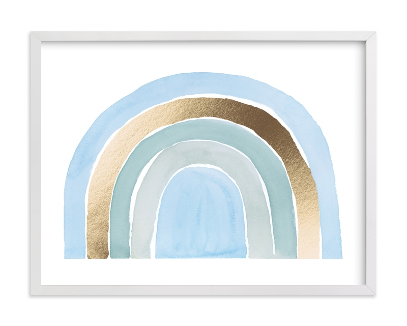 This is a blue nursery wall art by Kate Ahn called pastel rainbow.