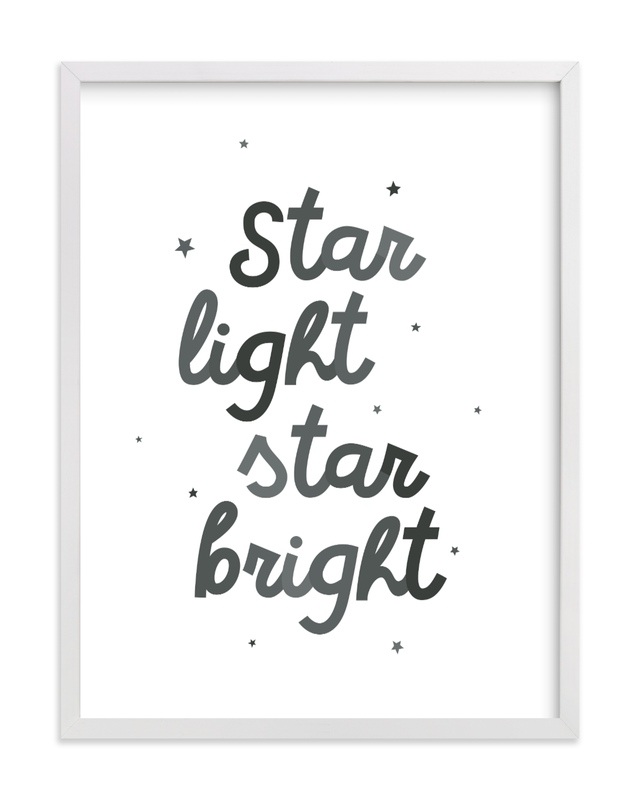 This is a black and white nursery wall art by Lea Delaveris called Star Light Star Bright.